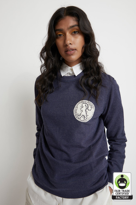Embroidered Patch Organic Cotton Sweatshirt