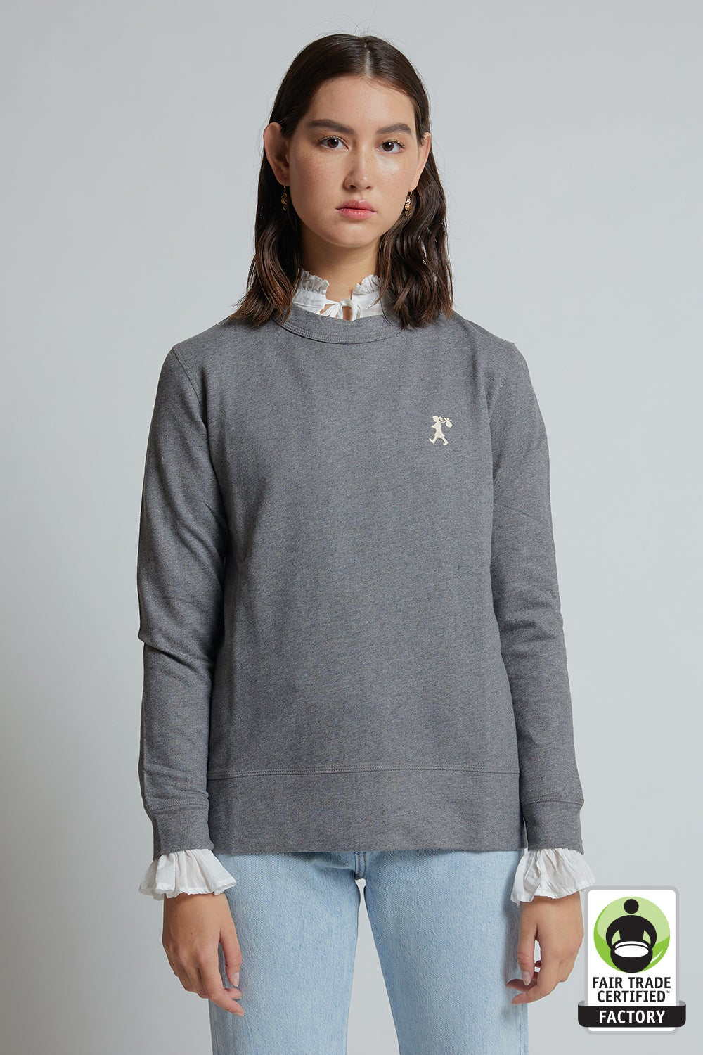 Embroidered Runaway Girl Organic Cotton Sweatshirt