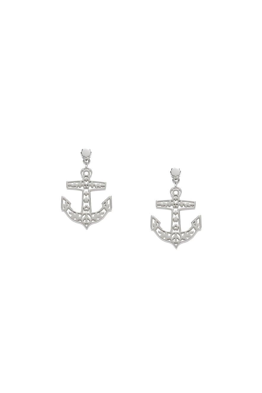 Filigree Anchor Studs Silver
