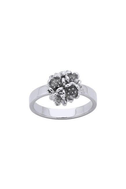 Flower Ball Ring Silver