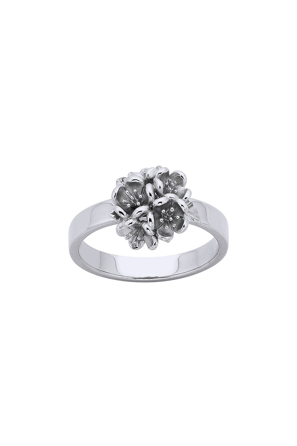 Flower Ball Ring Silver