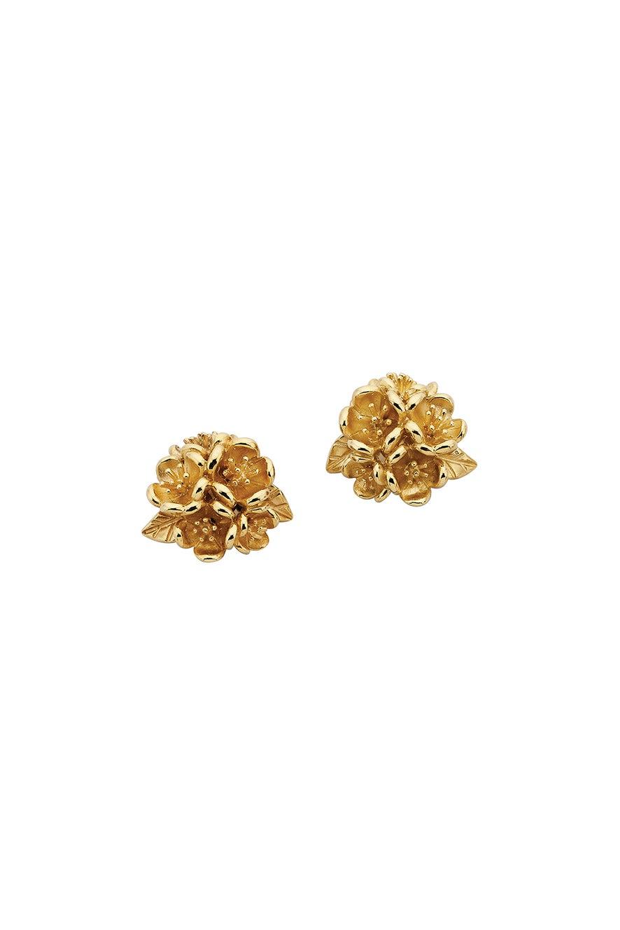 Flower Ball Studs Gold