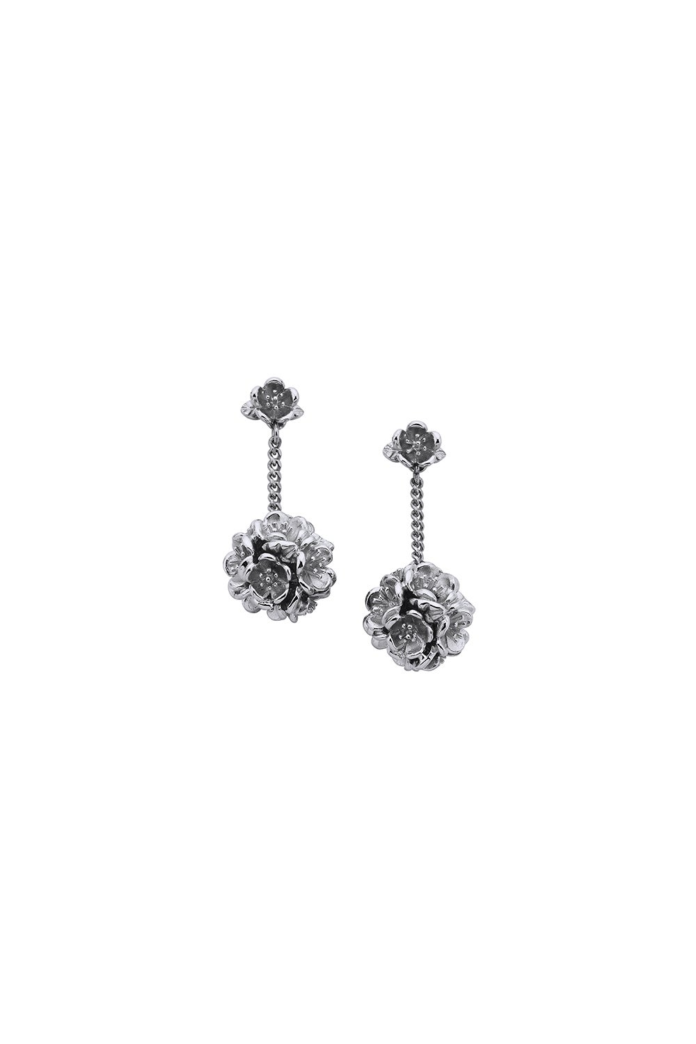 Flower Ball Thread Earrings Silver