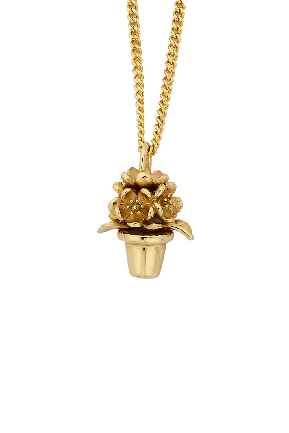 Flower Pot Pendant Gold