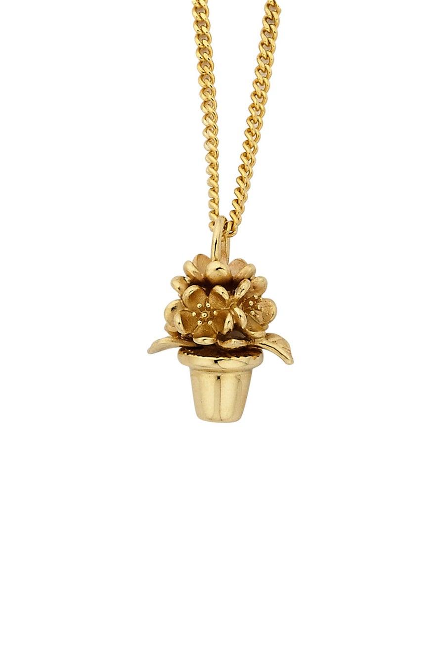 Flower Pot Pendant Gold