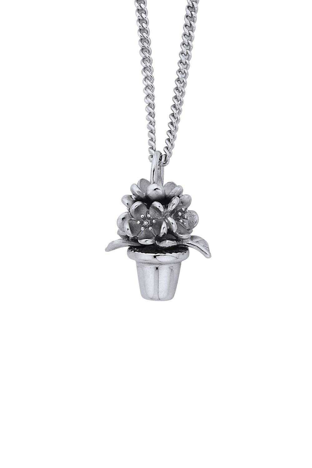 Flower Pot Pendant Silver