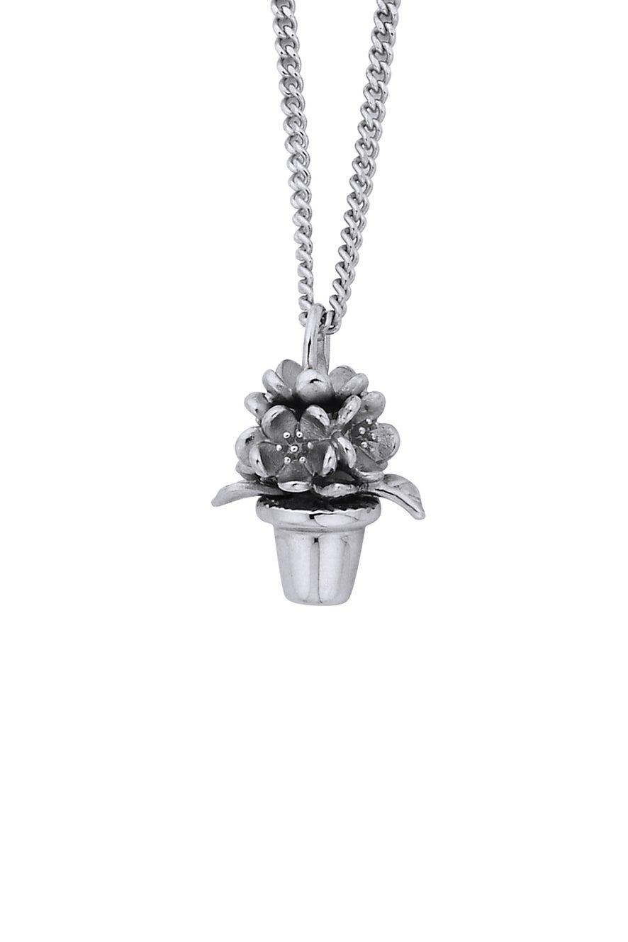 Flower Pot Pendant Silver