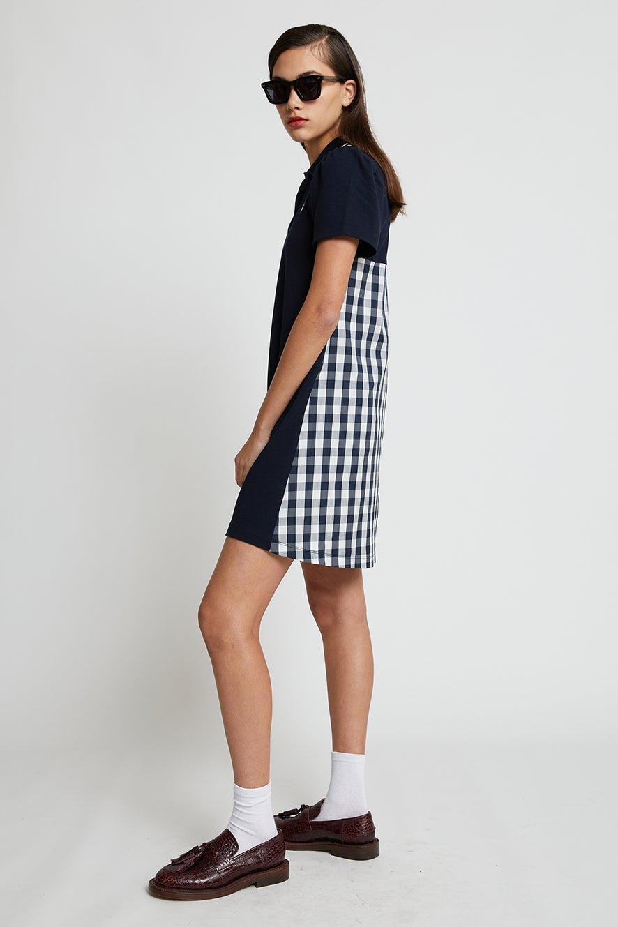 Fred Perry Gingham Panel Pique Dress
