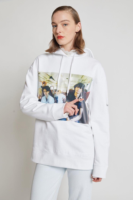 Fred Perry x Raf Simons Chest Print Hooded Sweatshirt