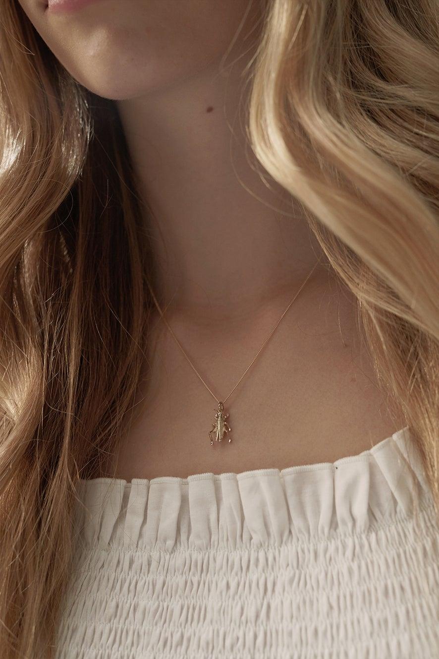 Grasshopper Necklace Rose Gold