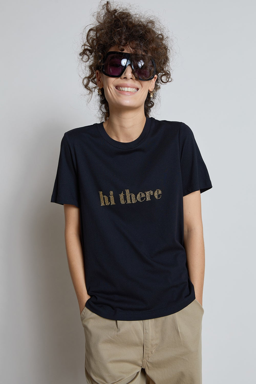 Hi There Beaded Tee