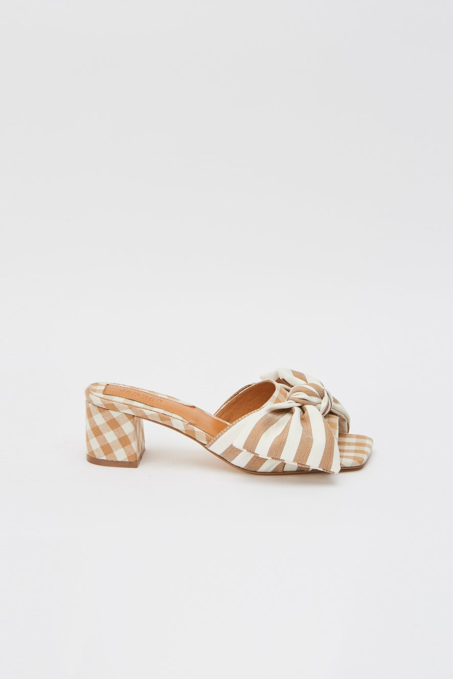 Jaggar Bow Stripe Heel Toffee with White