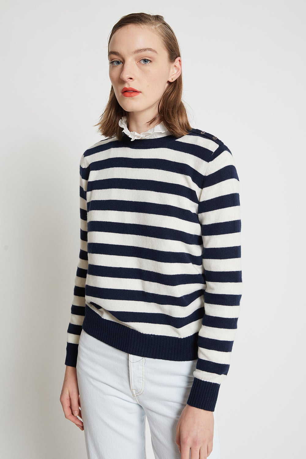 Jumper1234 Button Neck Stripe