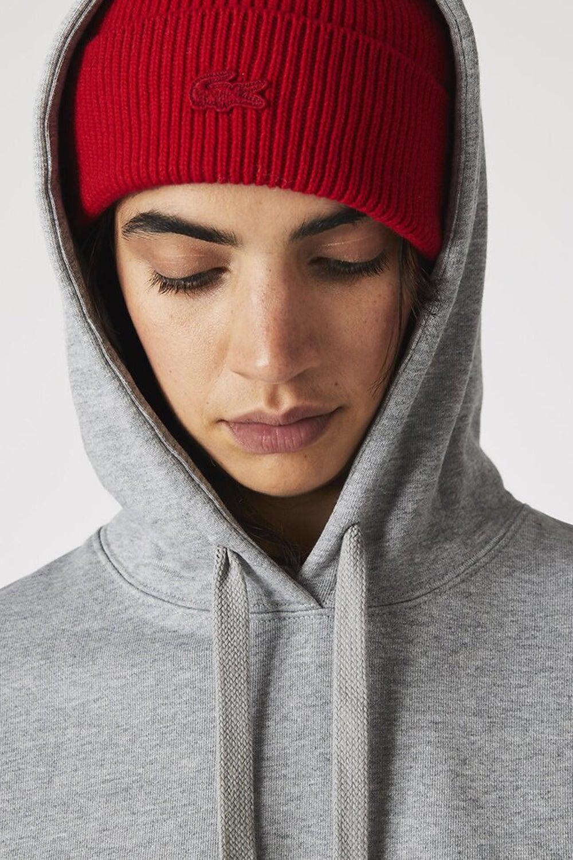 Lacoste L!ve Hooded Sweatshirt Dress Grey Chine
