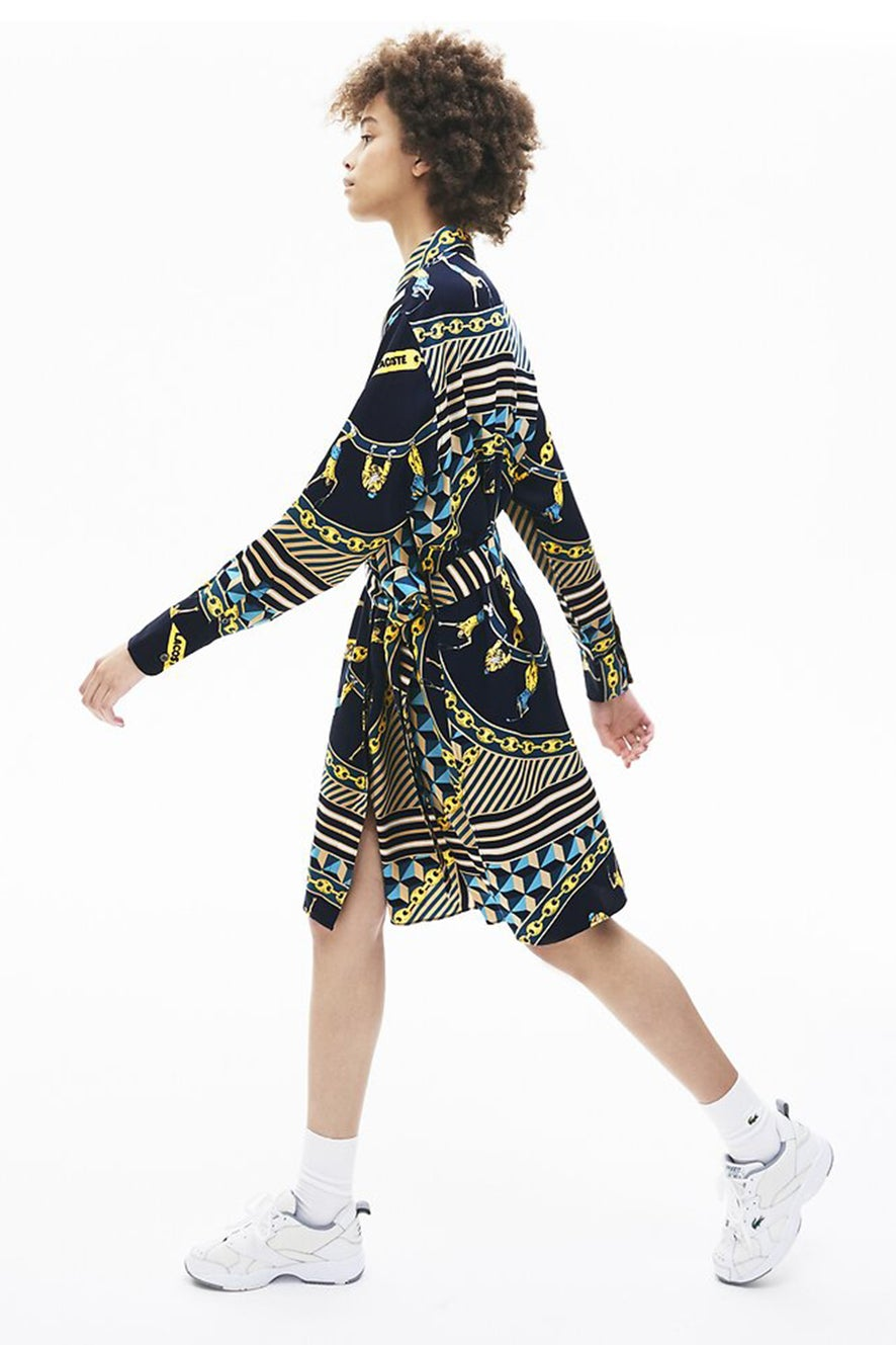 Lacoste L!ve Scarf Print Shirt Dress