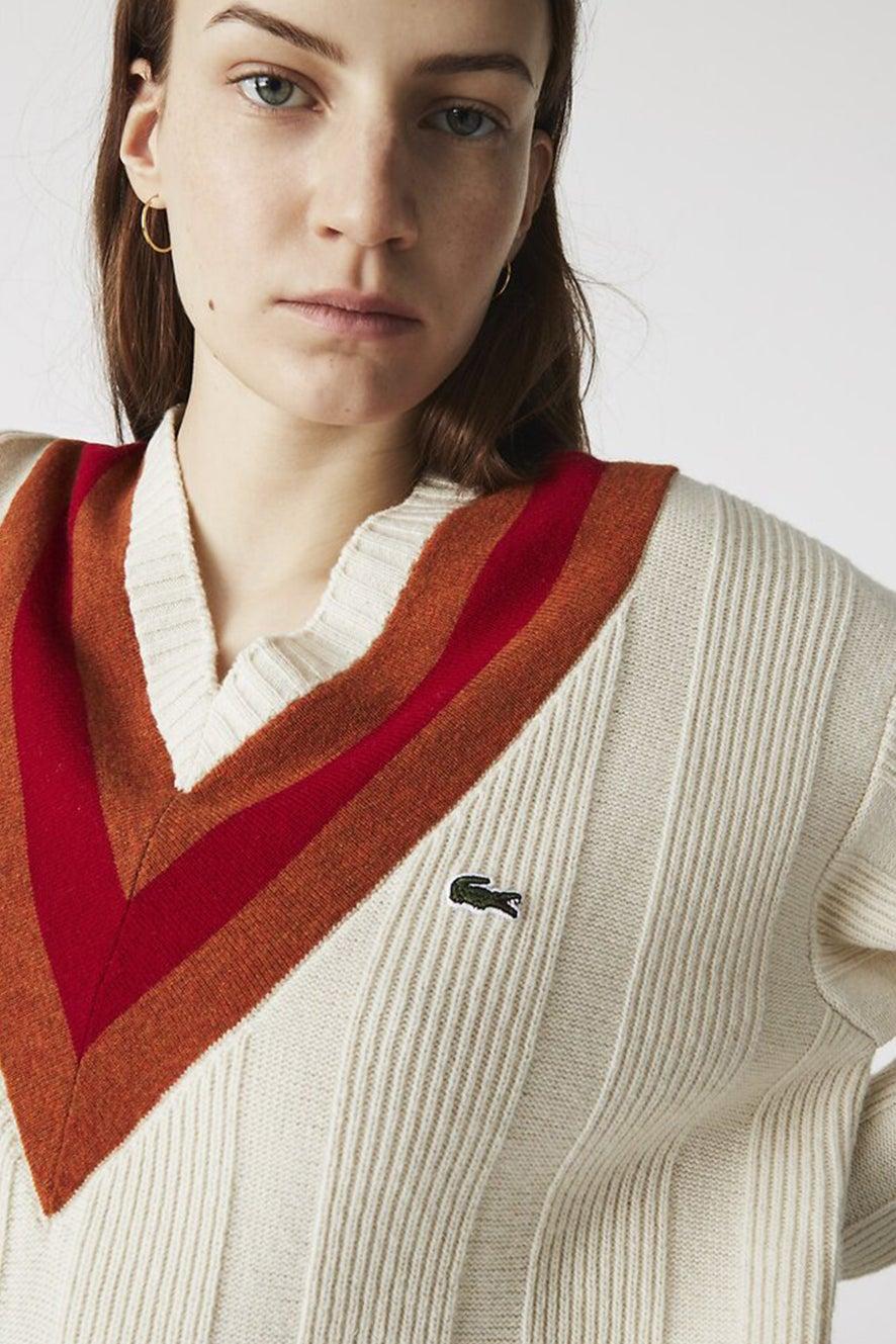 Lacoste V Neck Knit Beige/Brown/Red