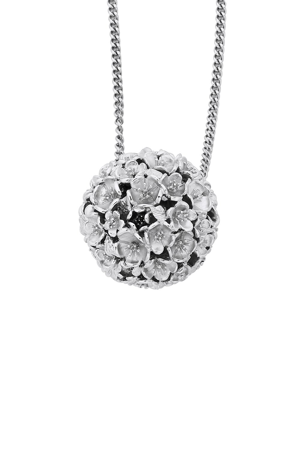 Large Flower Ball Pendant Silver
