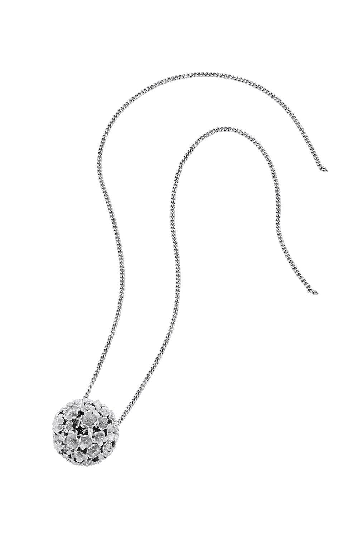 Large Flower Ball Pendant Silver
