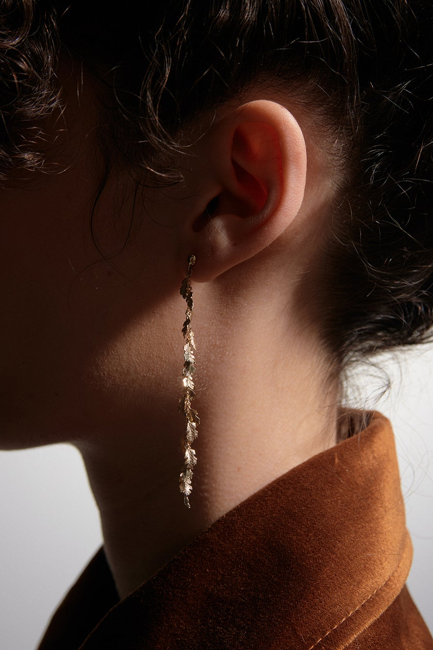 Leaf Drop Earrings Gold