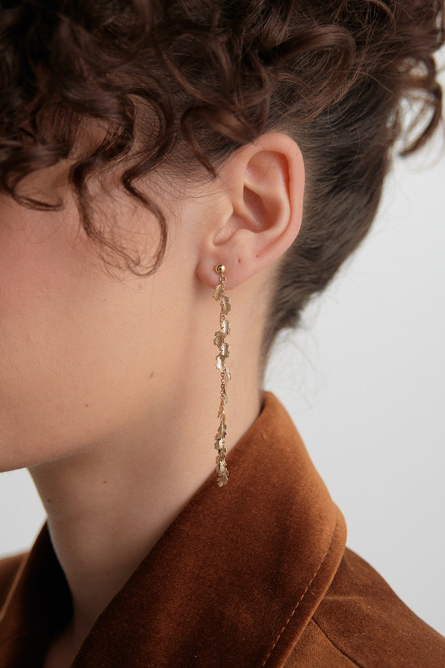 Leaf Drop Earrings Gold-Plated