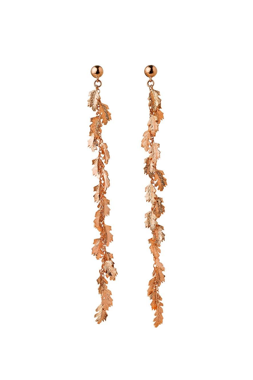 Leaf Drop Earrings Rose Gold