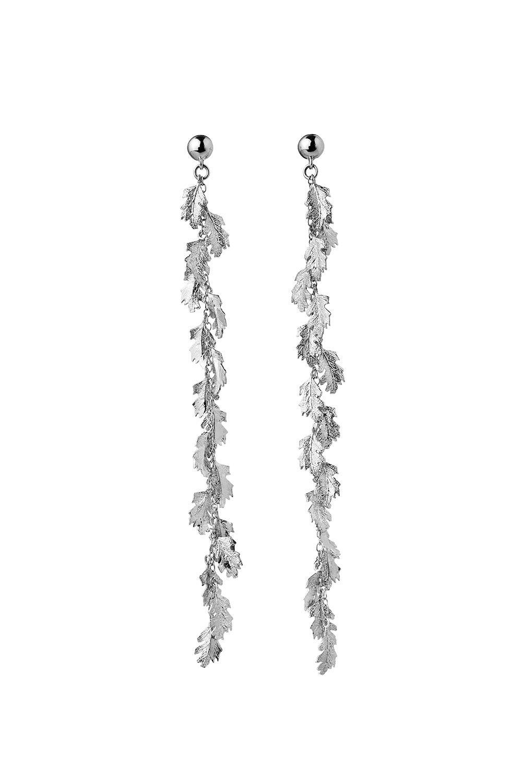 Leaf Drop Earrings Silver