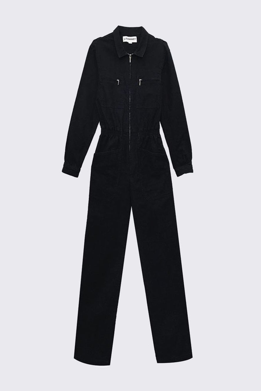 L.F Markey Danny Longsleeve Boilersuit Black