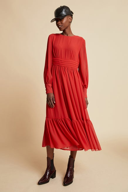 Long Scarlet Skating Dress
