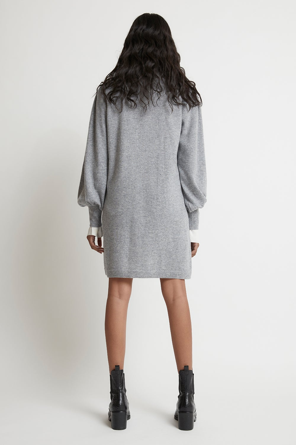 Luna Balloon Sleeve Cashmere Dress