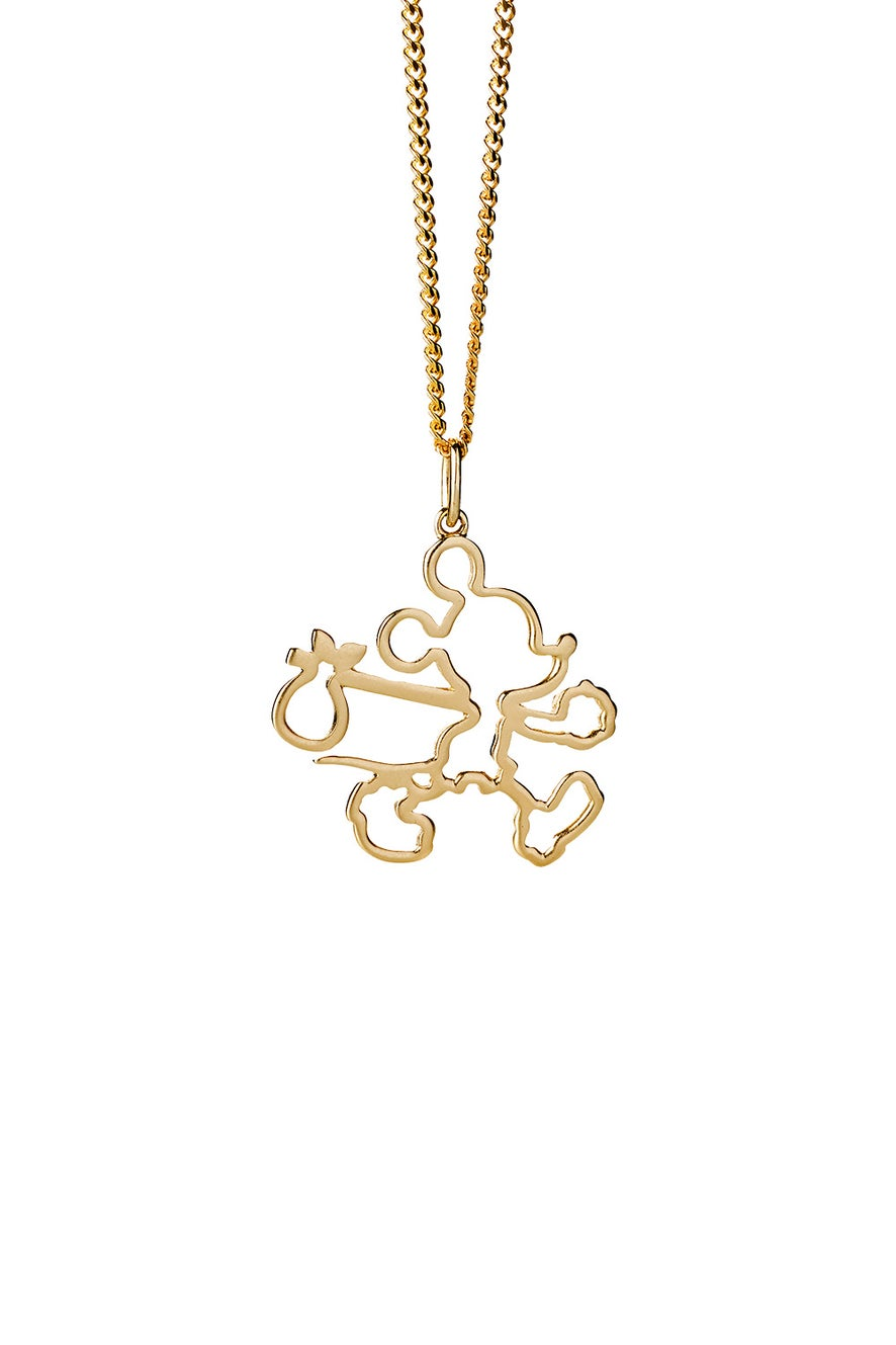 Runaway Mickey Outline Necklace Gold