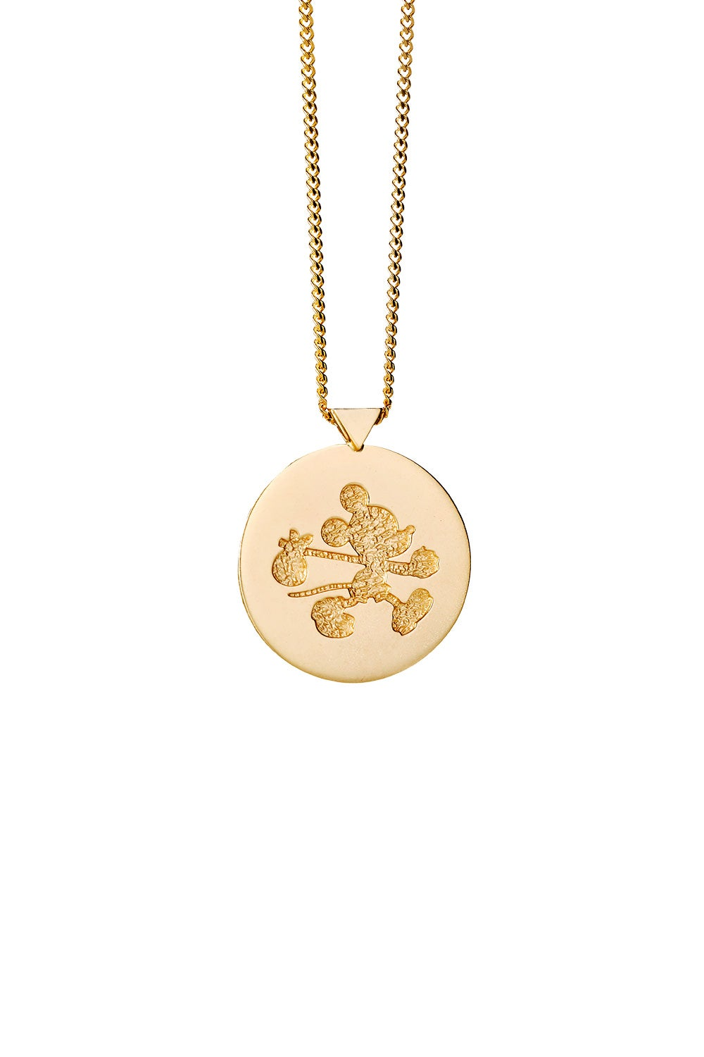 Runaway Mickey Stamp Necklace Gold