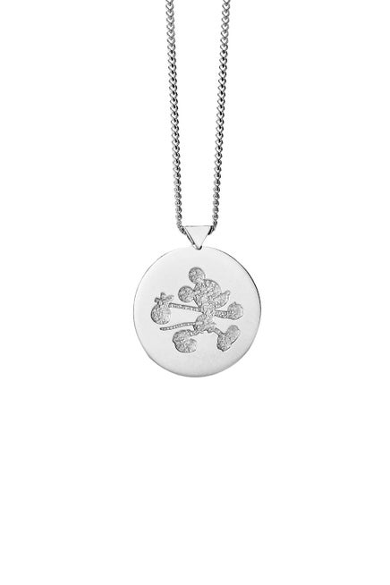 Runaway Mickey Stamp Necklace Silver