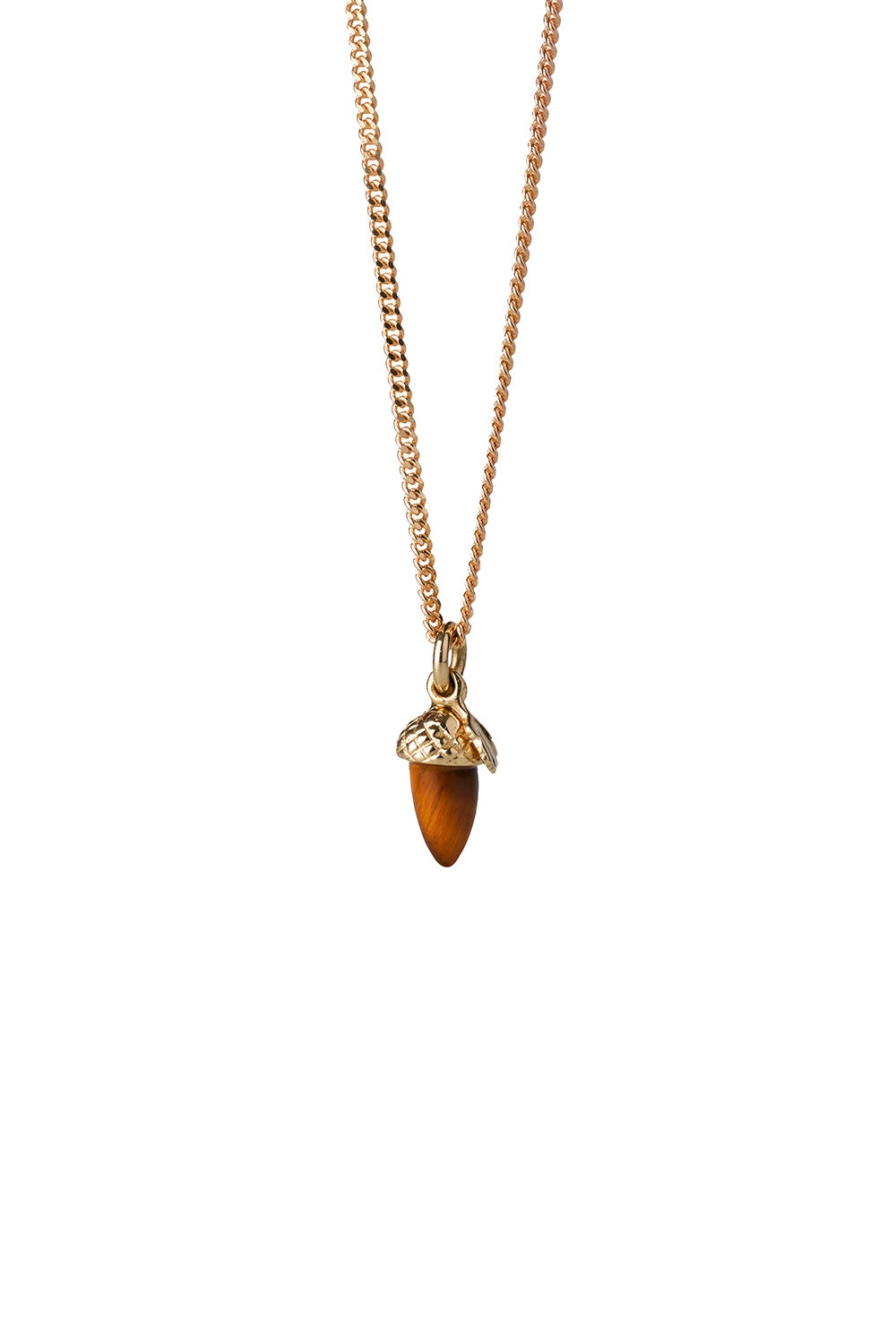 Micro Acorn and Leaf Necklace Gold