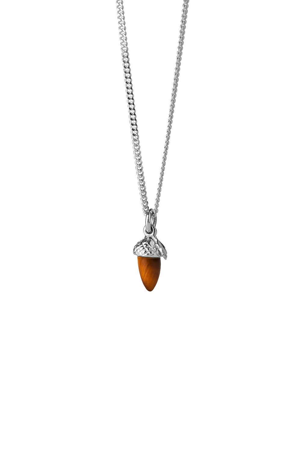 Micro Acorn and Leaf Necklace Silver