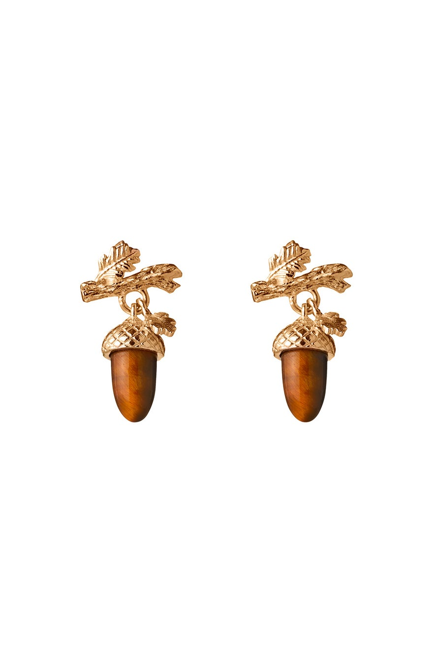 Micro Acorn and Leaf Studs Gold