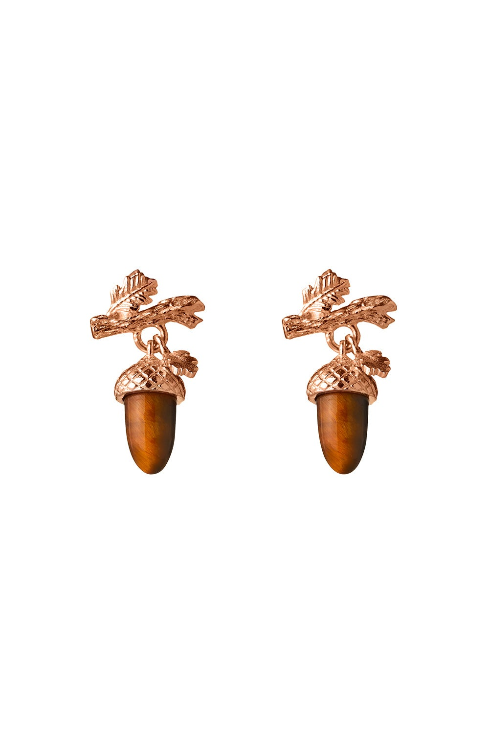 Micro Acorn and Leaf Studs Rose Gold