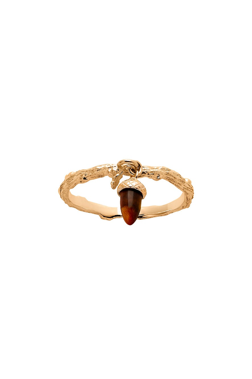 Micro Acorn and Leaf Charm Ring Gold