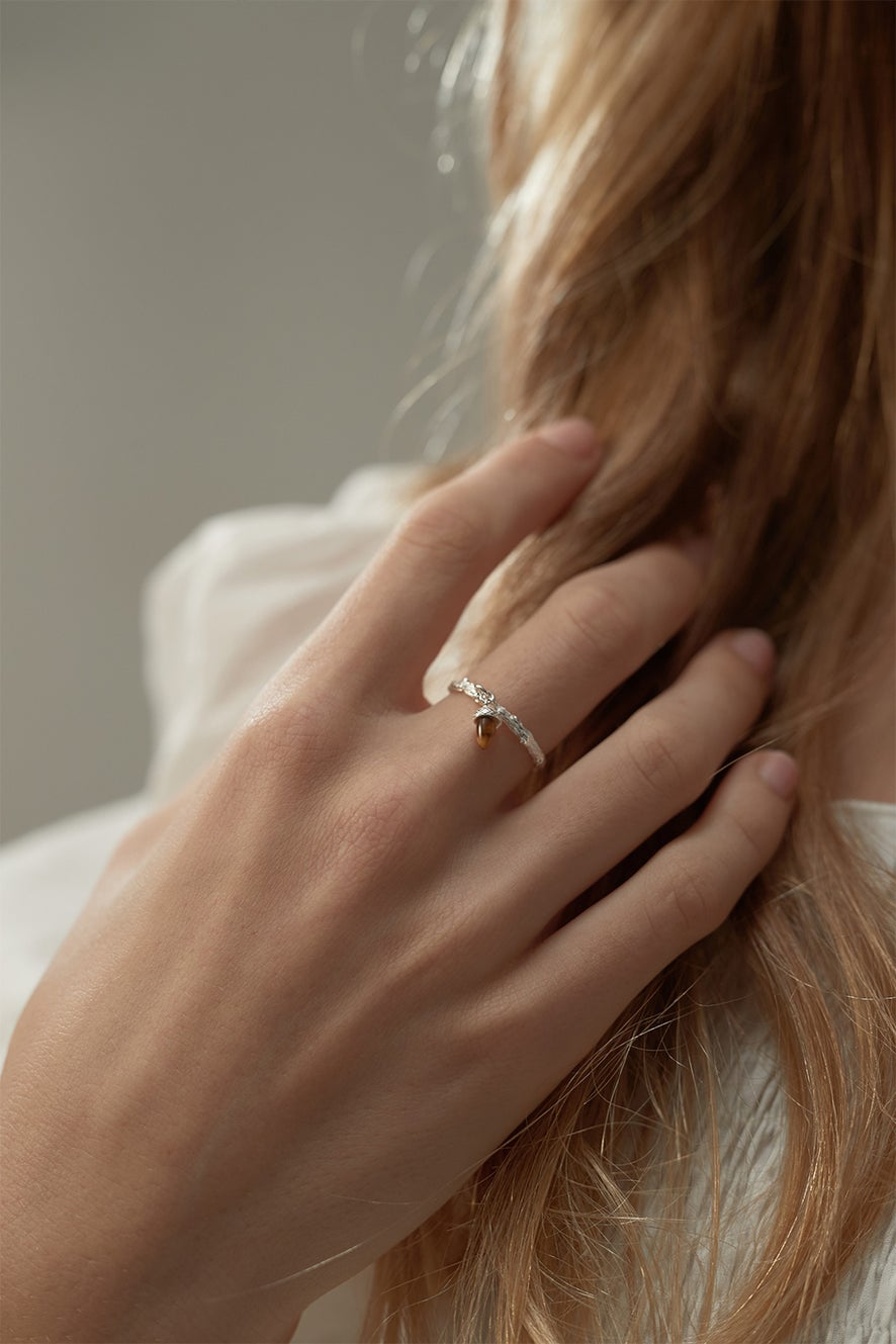 Micro Acorn and Leaf Charm Ring Rose Gold