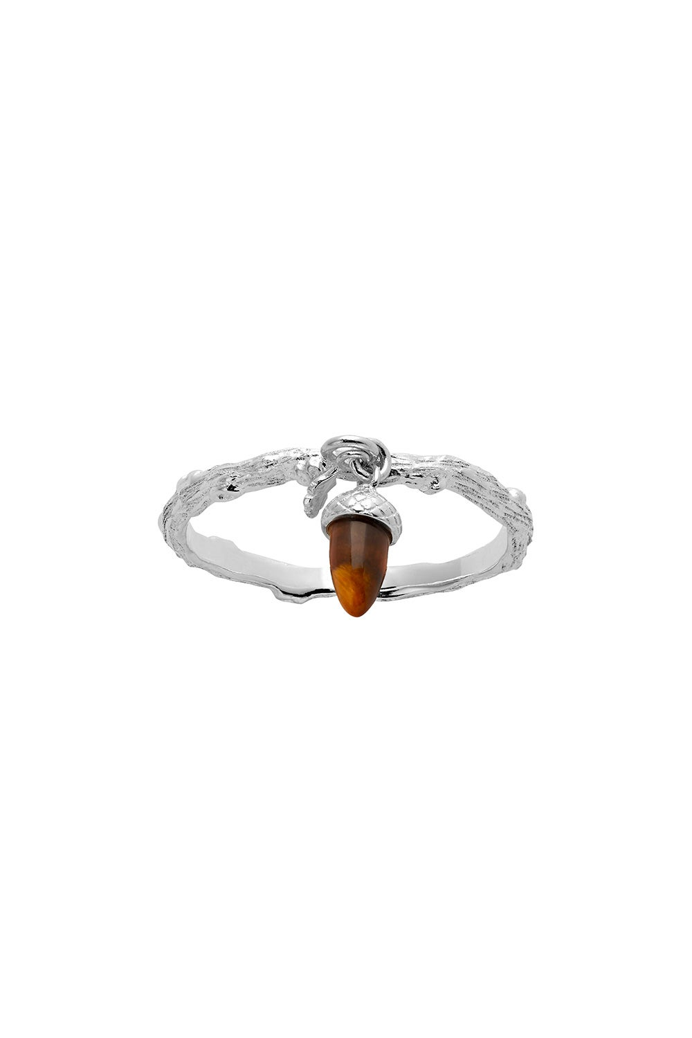 Micro Acorn and Leaf Charm Ring Silver