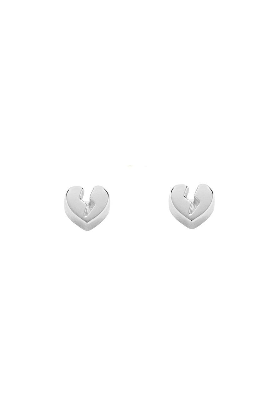 Broken Heart Earrings Silver