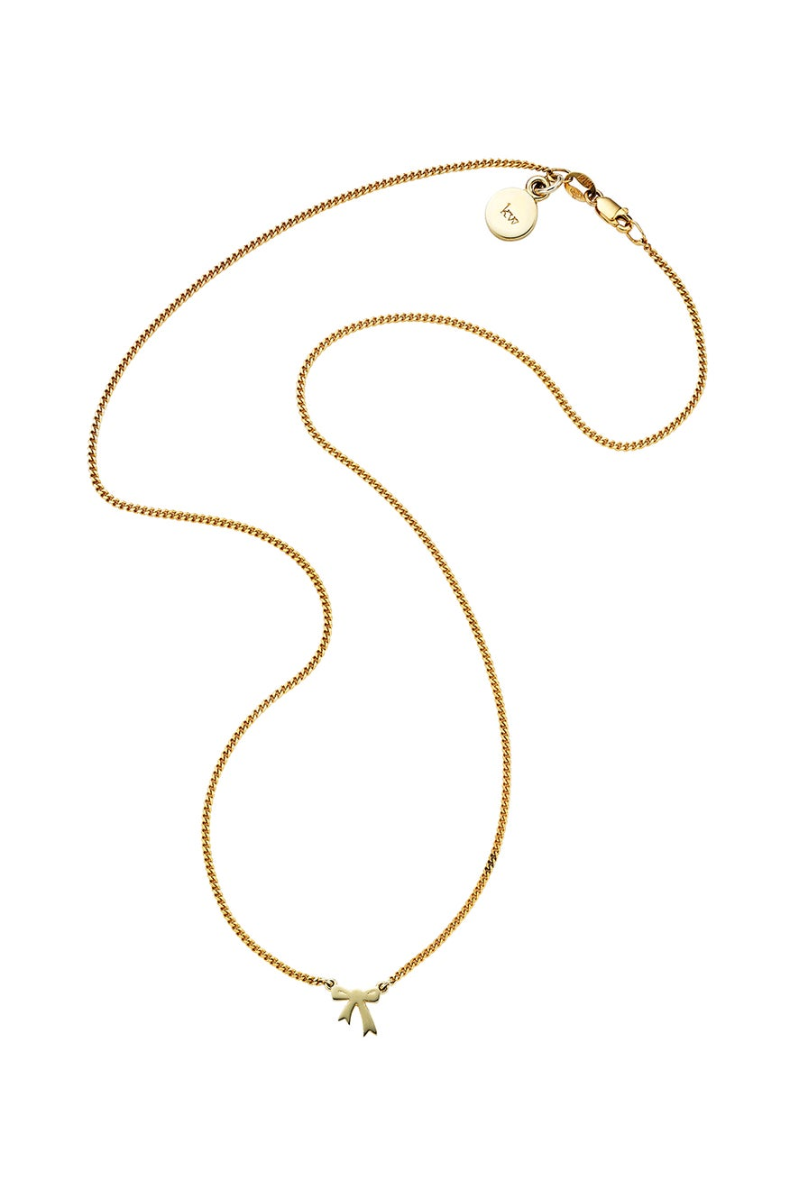 Mini Bow Necklace Gold