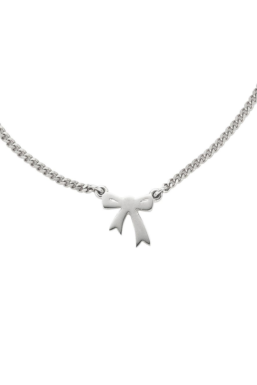Mini Bow Necklace Silver