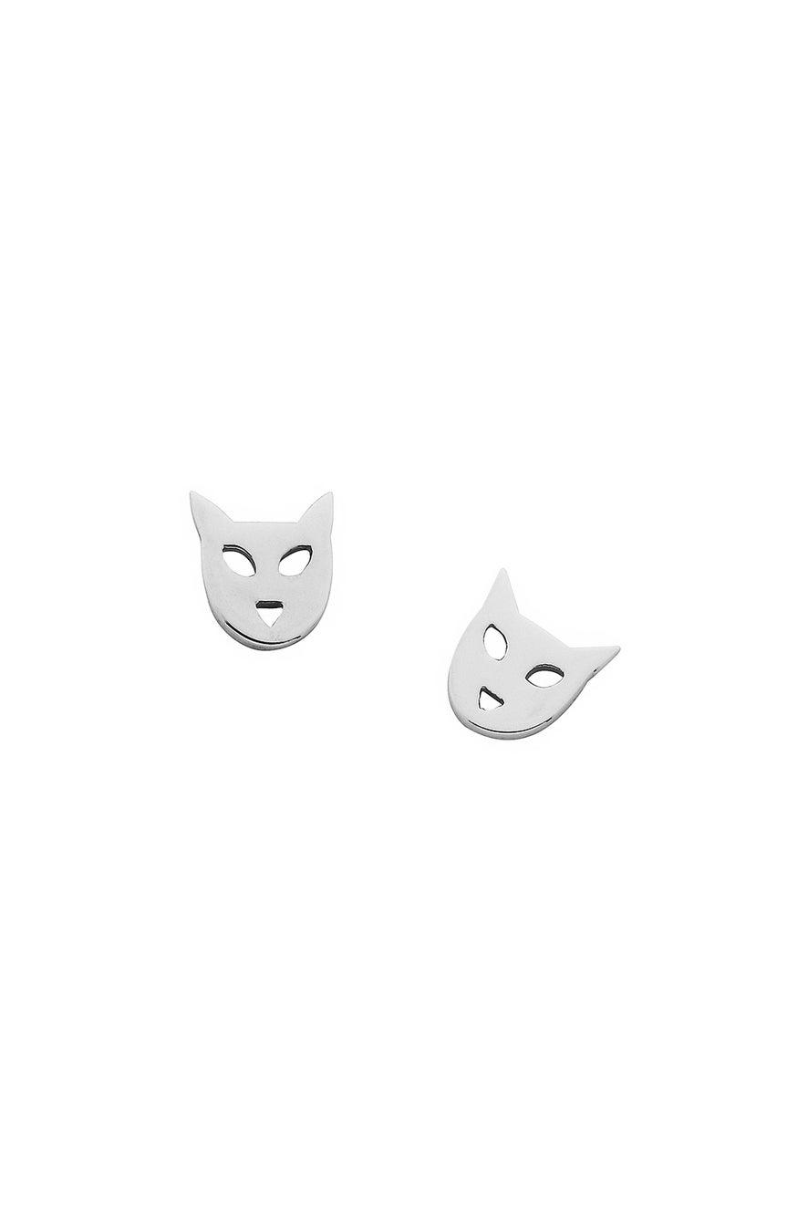 Mini Cat Studs Silver