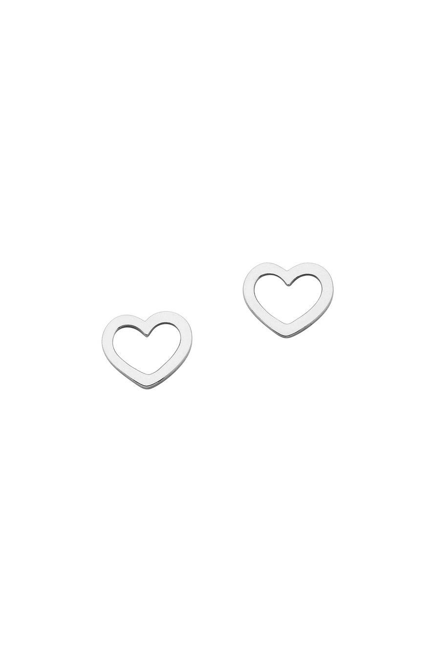 Mini Heart Studs Silver