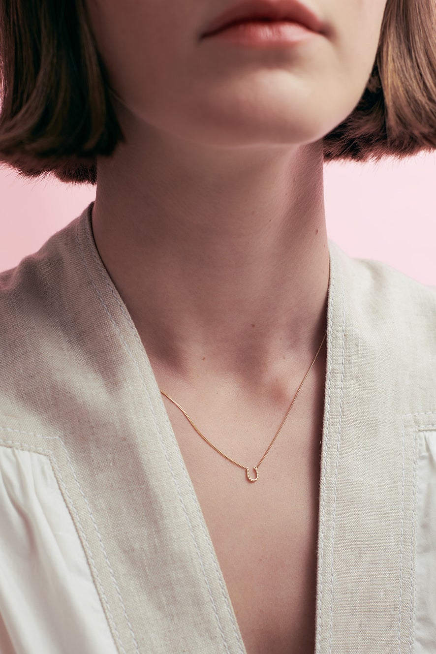 Mini Horseshoe Necklace Rose Gold