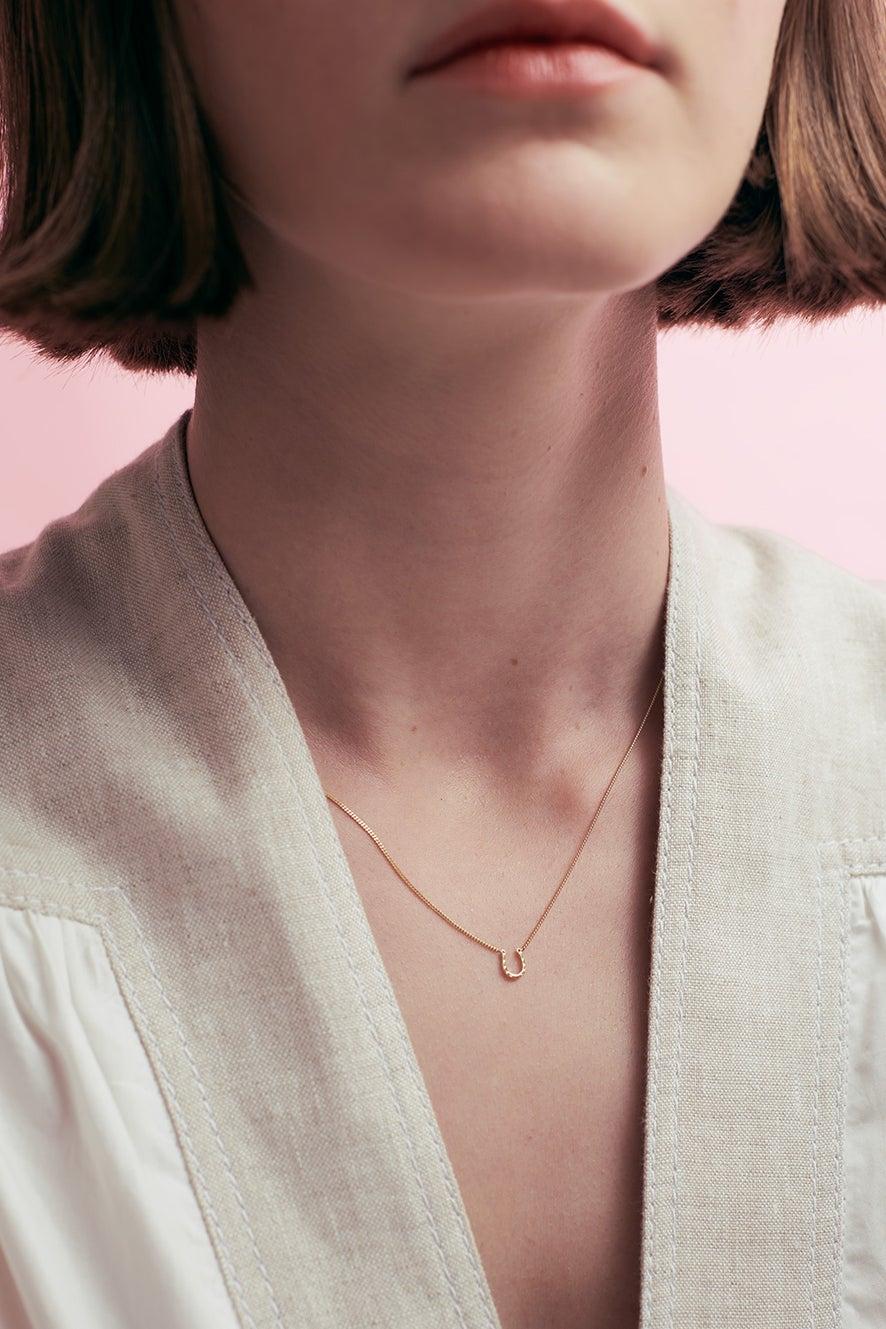 Mini Horseshoe Necklace Silver