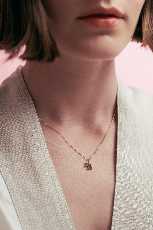 Mini Unicorn Necklace Gold