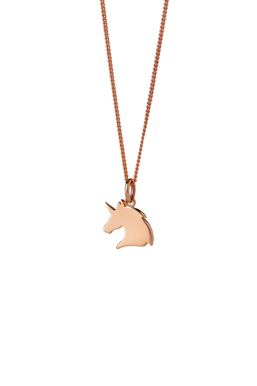 Mini Unicorn Necklace Rose Gold