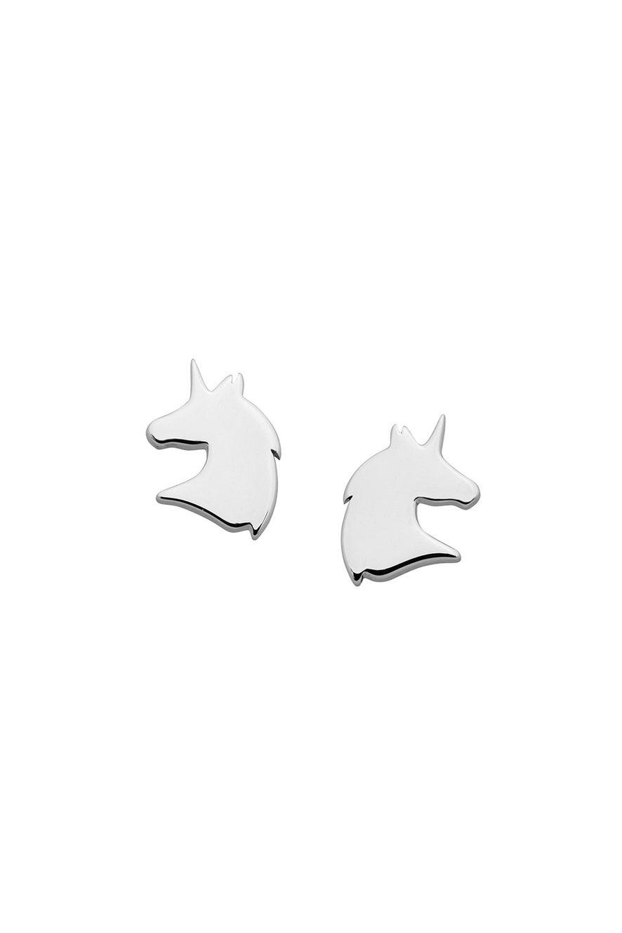 Mini Unicorn Studs Silver