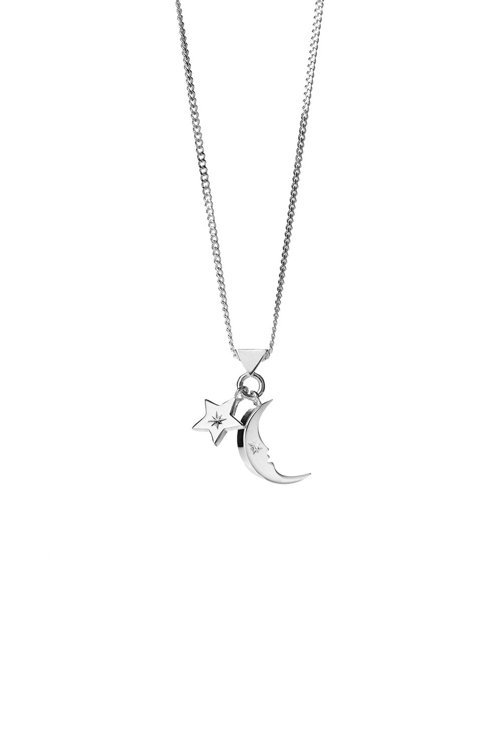 Moon and Star Charm Necklace Silver